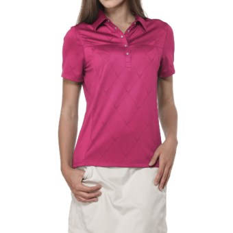 Callaway Chev Jacquard Polo Shirt - Short Sleeve (For Women) in Bright Pink