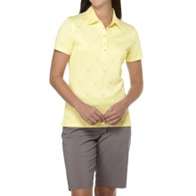 Callaway Chev Jacquard Polo Shirt - Short Sleeve (For Women) in Ice Yellow - Closeouts