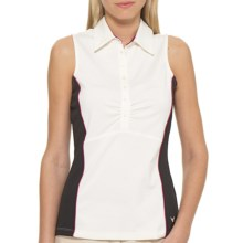Callaway Color-Blocked Polo Tank Top - UPF 15+, Sleeveless (For Women) in Egret - Closeouts