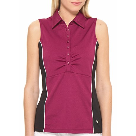 Callaway Color-Blocked Polo Tank Top - UPF 15+, Sleeveless (For Women) in Raspberry