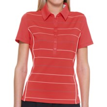 Callaway Roadmap Striped Polo Shirt - UPF 15+, Short Sleeve (For Women) in Hibiscus - Closeouts