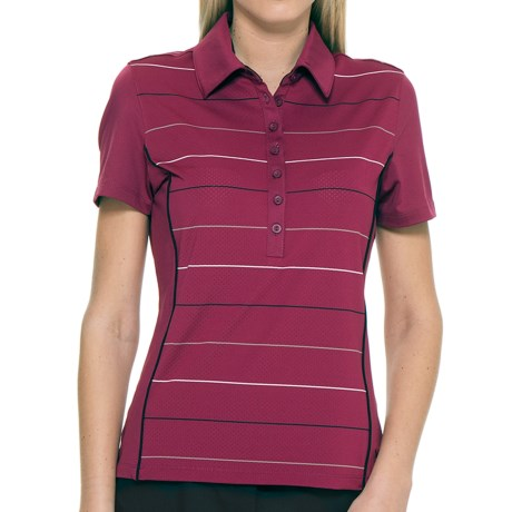 Callaway Roadmap Striped Polo Shirt - UPF 15+, Short Sleeve (For Women) in Hibiscus