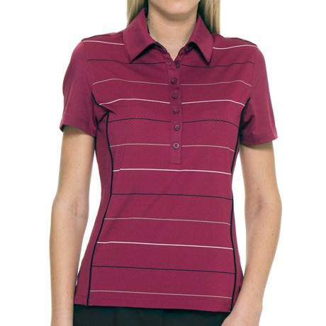 Callaway Roadmap Striped Polo Shirt - UPF 15+, Short Sleeve (For Women) in Raspberry