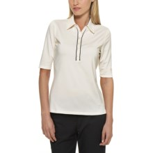 Callaway Stretch Polo Shirt - UPF 15+, Elbow Sleeve (For Women) in Egret - Closeouts