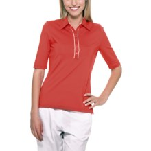 Callaway Stretch Polo Shirt - UPF 15+, Elbow Sleeve (For Women) in Hibiscus - Closeouts