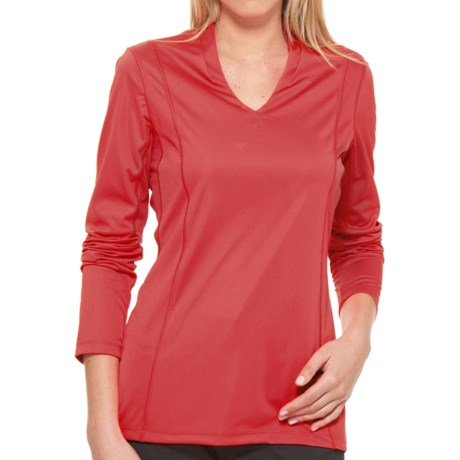 Callaway V-Neck Shirt - UPF 15+, Long Sleeve (For Women) in Hibiscus