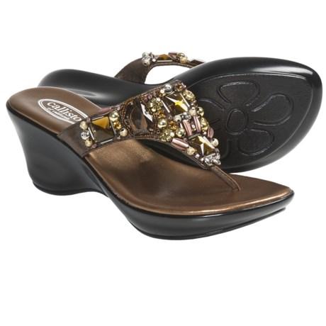 Callisto of California Social Sandals - Wedge Heel (For Women) in Bronze