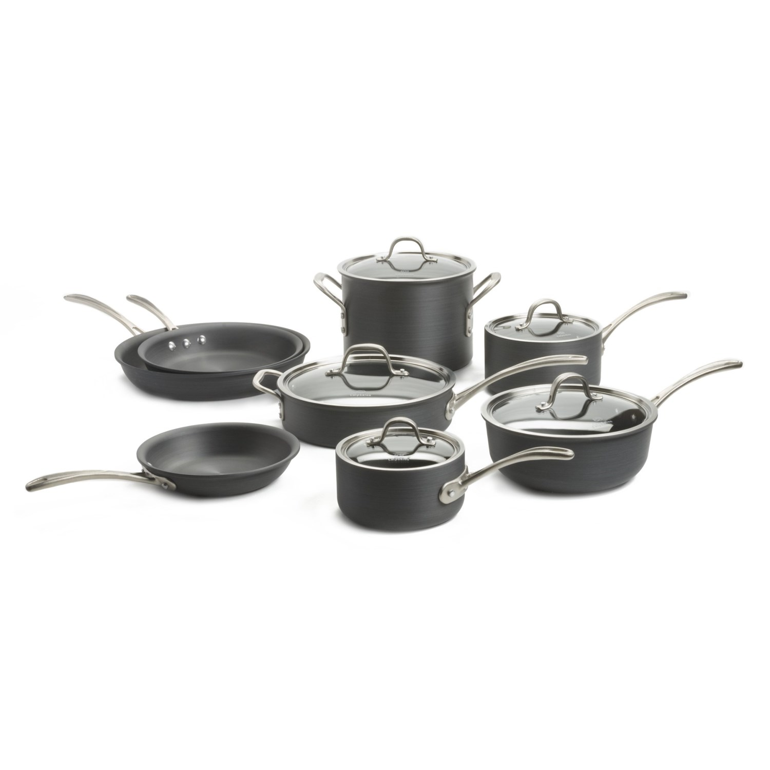 "1.5 qt. sauce pan with lid: 3-1/4"" high; 6"" diameter 10"" omelette pan 12"" omelette pan 13 piece set includes: 2.5 qt. sauce pan with lid: 4"" high; 7"" diameter 3 qt. chef's pan with lid: 3-1/2"" high; 9"" diameter 3 qt. saute pan with lid: 2-1/2"" high; 10"" diameter 6 qt. stock pot with lid: 6-1/2"" high; 9"" diameter 8"" omelette pan Calphalon is a leading brand in gourmet cookware, known for developing technologies that enhance the cooking experience for professional chefs and amateurs alike Care: Hand wash Closeouts. Heavy-duty pans for the professional chef, Calphalon's Commercial Hard-Anodized 13-piece cookware set prepares everything from delicate omelettes to pot roasts and paella -- with naturally non-stick surfaces approved for use with any utensils. Extra-long handles improve safety Hard-anodized aluminum is perfect for searing and deglazing Made in China Material: Hard-anodized aluminum, stainless steel, tempered glass Natural non-stick surface is chemical-free and approved for use with any utensils without scratching Stay-cool handles Stovetop, oven and broiler safe Tempered glass lids are oven safe US shipments only Weight: 27 lb. 4 oz."