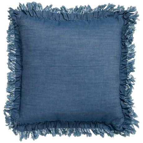 Image of Calvi Chambray Denim Throw Pillow - 20x20? Feathers