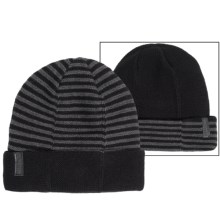 Calvin Klein 4-Way Stripe Beanie - Reversible (For Men) in Black/Charcoal Heather - Closeouts