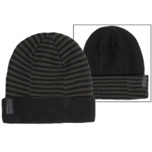 Calvin Klein 4-Way Stripe Beanie - Reversible (For Men) in Black/Wood Green - Closeouts