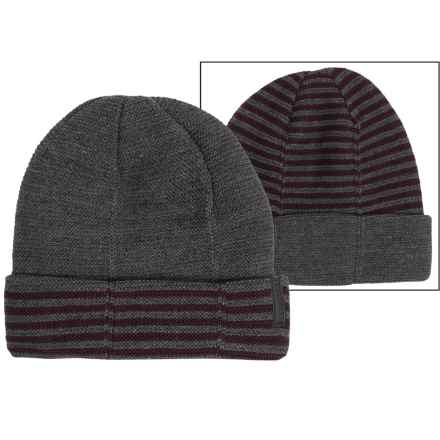 Calvin Klein 4-Way Stripe Beanie - Reversible (For Men) in Charcoal Heather/Claret - Closeouts