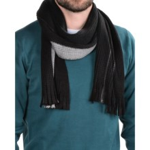 Calvin Klein Chunky Raschel Scarf (For Men) in Black/Charcoal Heather/Flannel - Closeouts