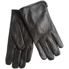 Calvin Klein CK Logo Rivet Leather Gloves - Fleece Lined (For Men) in Black - Closeouts
