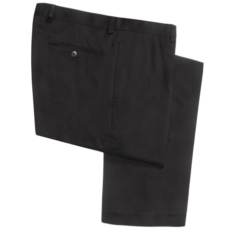 Calvin Klein Cotton Twill Pants - Flat Front (For Men) in Black