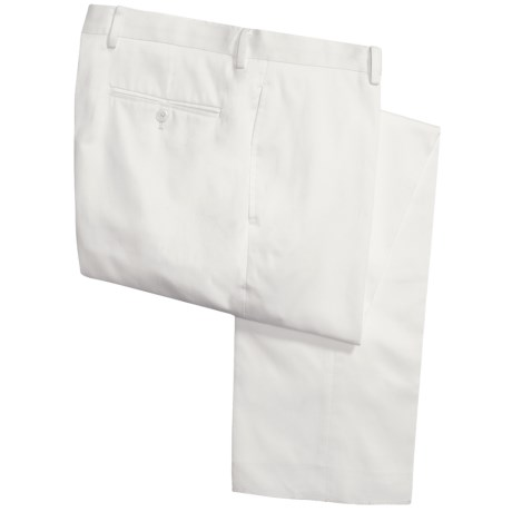 Calvin Klein Cotton Twill Pants - Flat Front (For Men) in White