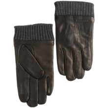 Calvin Klein Cuffed Leather Gloves - Fleece Lined, Touchscreen Compatible (For Men) in Black - Closeouts