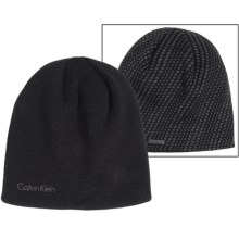 Calvin Klein Diagonal Dash Logo Beanie - Reversible (For Men) in Black/Charcoal Heather - Closeouts