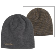 Calvin Klein Diagonal Dash Logo Beanie - Reversible (For Men) in Charcoal Heather/Acorn - Closeouts
