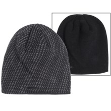 Calvin Klein Diagonal Dash Logo Beanie - Reversible (For Men) in Nautical Navy/Charcoal Heather - Closeouts