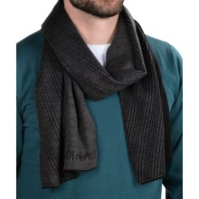 Calvin Klein Diagonal Grid Logo Scarf (For Men) in Black/Charcoal Heather - Closeouts