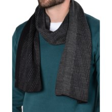 Calvin Klein Diagonal Grid Logo Scarf (For Men) in Navy/Charcoal Heather - Closeouts