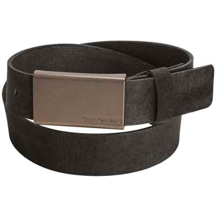 Calvin Klein Flat Strap Leather Belt (For Men) in Black - Closeouts