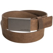 Calvin Klein Flat Strap Leather Belt (For Men) in Tan - Closeouts