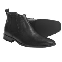 Calvin Klein Garrison Pull-On Boots (For Men) in Black Weave Emboss Leather - Closeouts