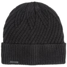 Calvin Klein Geometric Rib Beanie (For Men) in Black - Closeouts