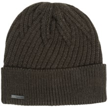 Calvin Klein Geometric Rib Beanie (For Men) in Wood Green - Closeouts