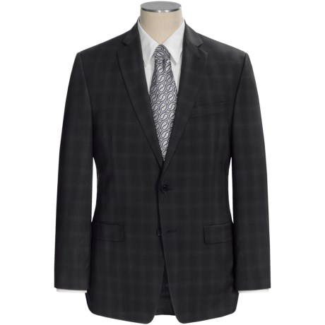 Calvin Klein Glen Plaid Suit - Wool, Slim Fit (For Men) in Black