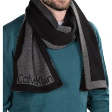 Calvin Klein Jacquard Logo Scarf (For Men) in Black/Charcoal Heather - Closeouts