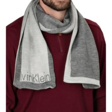 Calvin Klein Jacquard Logo Scarf (For Men) in Flannel/Soft Gray - Closeouts