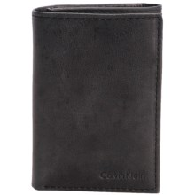 Calvin Klein Leather Trifold Wallet and Key Fob Set (For Men) in Smooth Black - Closeouts