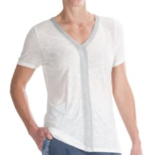 Calvin Klein Lurex® Trim Shirt - Short Sleeve (For Women) in Lattice - Closeouts