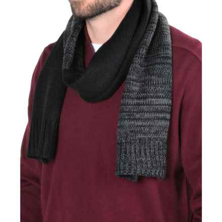 Calvin Klein Marled Color-Block Scarf (For Men) in Black/Charcoal Heather - Closeouts