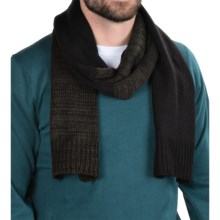 Calvin Klein Marled Color-Block Scarf (For Men) in Black/Wood Green - Closeouts