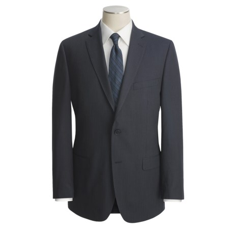 Calvin Klein Mini-Stripe Suit - Wool (For Men) in Navy