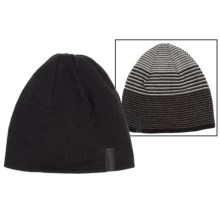 Calvin Klein Ombre Logo Beanie - Reversible (For Men) in Black/Charcoal Heather - Closeouts