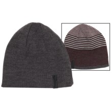 Calvin Klein Ombre Logo Beanie - Reversible (For Men) in Charcoal Heather/Claret - Closeouts
