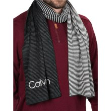 Calvin Klein Ombre Logo Scarf - Reversible (For Men) in Black/Charcoal/Soft Gray - Closeouts