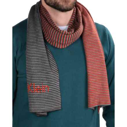 Calvin Klein Ombre Logo Scarf - Reversible (For Men) in Charcoal/Flannel/Solar - Closeouts