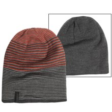 Calvin Klein Ombre Logo Slouch Beanie - Reversible (For Men) in Charcoal Heather/Claret - Closeouts
