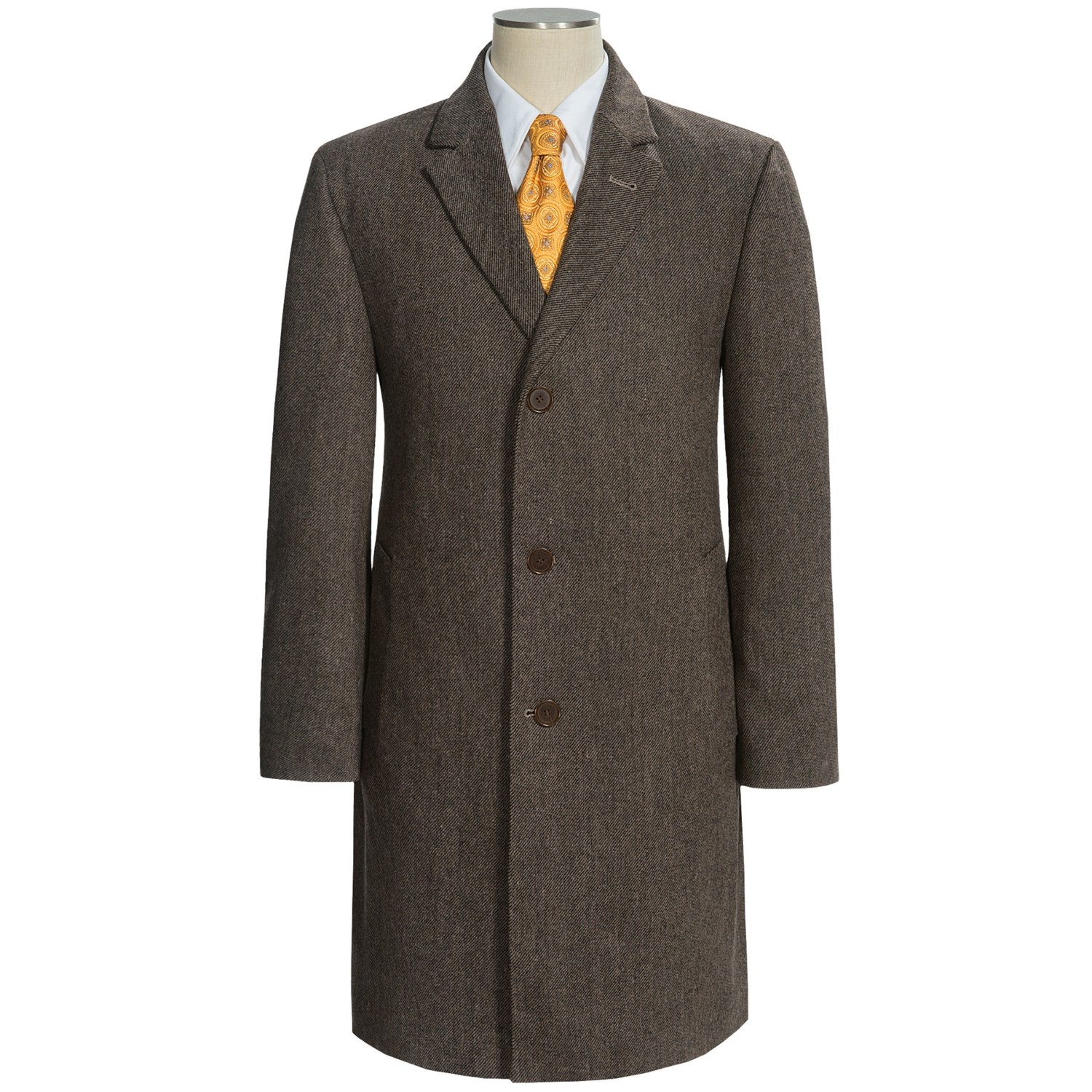 Mens Top Coat. Shop for a men's top coat and find outerwear ideas traditionally featuring wider lapels, and a length that falls past the waist. These options are great for wearing to the office during a rainy day because the thick fabric and a lined interior protect business suits and pressed dress shirts from coming in contact with moisture.