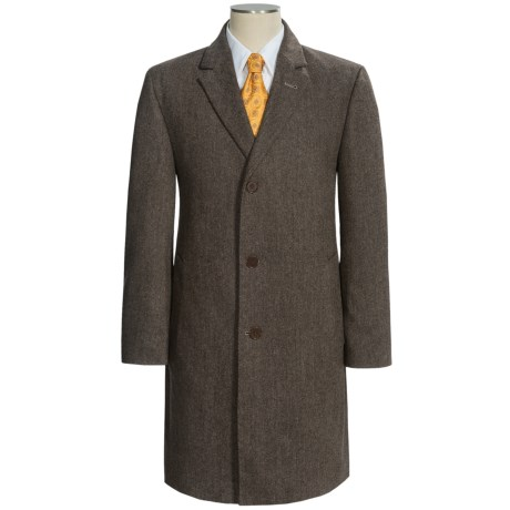 Calvin Klein Plaza Top Coat - Worsted Wool Blend (For Men) in Brown Twill