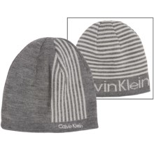Calvin Klein Refraction Logo Beanie - Reversible (For Men) in Flannel - Closeouts