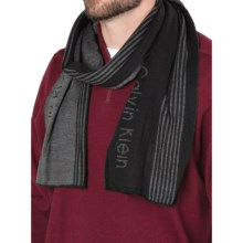 Calvin Klein Refraction Logo Scarf (For Men) in Black/Charcoal Heather - Closeouts