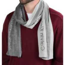 Calvin Klein Refraction Logo Scarf (For Men) in Flannel/Soft Gray - Closeouts
