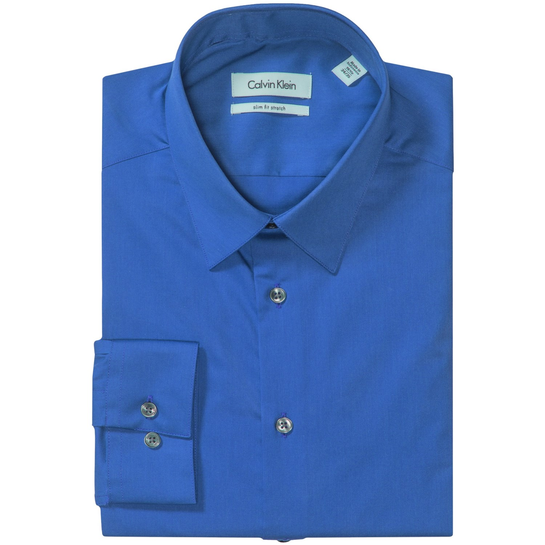 Calvin klein stretch point collar dress shirt slim fit for Dress shirt collar fit